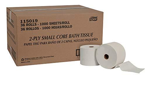 Tork 115019 Universal Small Core High Capacity Bath Tissue Roll, 2-Ply, 3.66