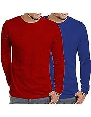 COOFANDY Men's 2 Pack Long Sleeve Shirts Casual T-Shirt Crew Neck Performance Top, Typeb-red/Blue, Medium