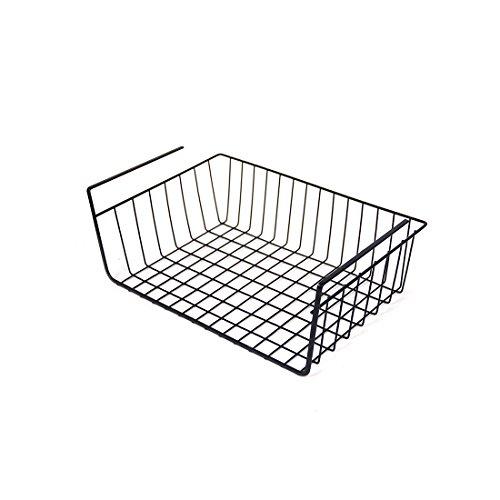 Black Under Shelf Basket Iron Wire Hanging Storage Basket For Living Room Bathroom Accessories Organizer Wire Basket Kitchen Pantry Cabinet 1 Pack (ST001 Black) by Kitchen Hardware Collection
