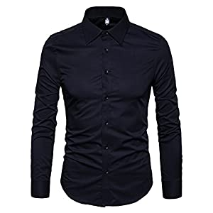 Manwan walk Men's Slim Fit Business Casual Cotton Long Sleeves Solid Button Down Dress Shirts