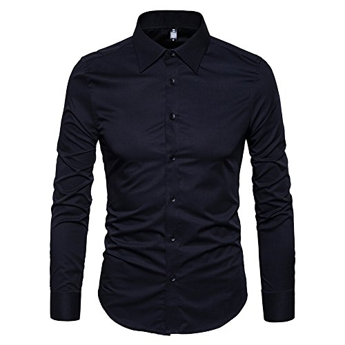 Manwan walk Men's Slim Fit Business Casual Cotton Long Sleeves Solid Button Down Dress Shirts (X-Large, Black) ()