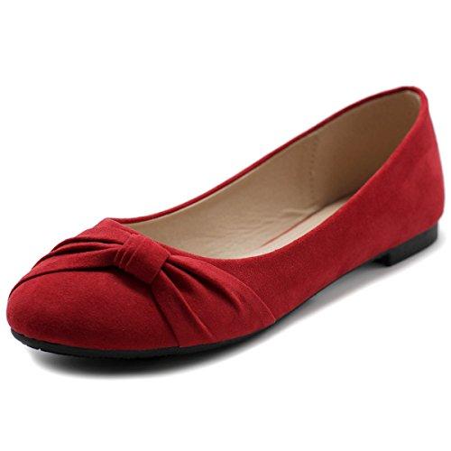 Ollio Scarpe Da Donna Balletto Finto Camoscio Rosso