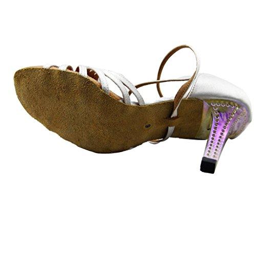 8 toe para Zapatos Tango nbsp;cm las talón Foo 9 de baile Open Blanco Salsa con Jig Sandalias mujeres Latin Rv6pxwtq
