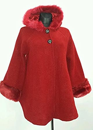 new styles c4b3b e1d58 Poncho Cape Winter Kurzmantel Wolle, Rot, Gr: 38-46: Amazon ...