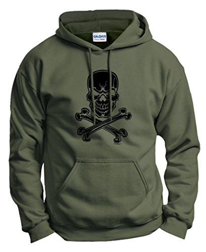 Jolly Roger Pirate Skull and Crossbones Hoodie Sweatshirt Large MlGrn - Crossbones Hoodie