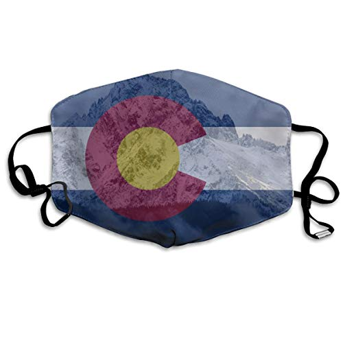 Reusable Anti-dust Face Mask for Adults Kids Teens, Colorado State Flag Mountains Mouth Mask Anti Pollution Pollen Allergy Flu Germs Mouth Cover for Outdoor Cycling Motorcycle