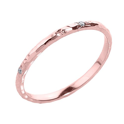 Dainty 10k Rose Gold Pink Hammered Band Stackable Diamond Ring