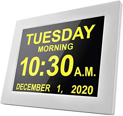 [16 Reminders] Electronic Clock 8 Inch Day Alarm Calendar Large Clocks Dementia Alzheimers Sufferers Elderly Seniors Memory Loss Impaired Vision Video Products-White