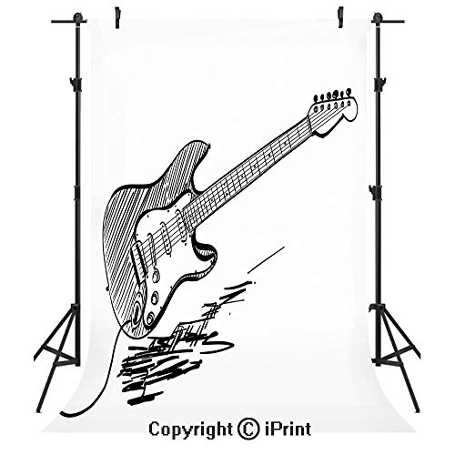 (Guitar Photography Backdrops,Hand Drawn Style Electric Guitar on White Backdrop Rock Music Accords Sketch Art Decorative,Birthday Party Seamless Photo Studio Booth Background Banner 6x9ft,Black White)