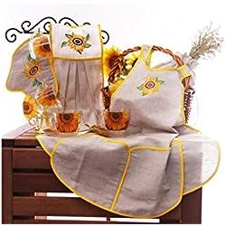 Sunflower Cups Set (1 Oven Mitt, 1 Towel, 1 Apron, 1 Linen Pouch, 4 Cups). Kitchen Gift Set, Home Decor
