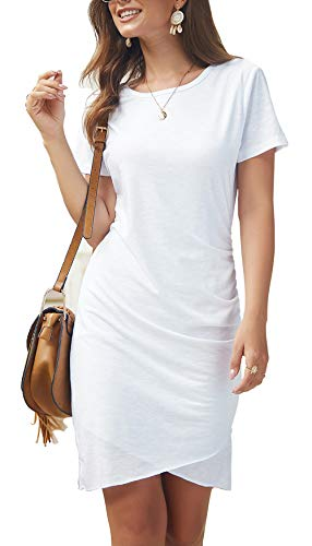 BTFBM Women's 2019 Casual Crew Neck Ruched Stretchy Bodycon T Shirt Short Mini Dress (104White, Large)