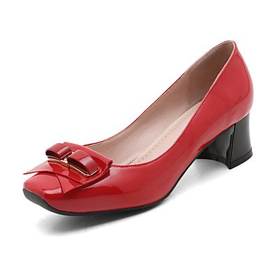 Talones de las mujeres Primavera Verano Otoño Invierno boda Charol Comfort Fiesta y vestido de noche Chunky talón hebilla del Bowknot Negro Rojo Black