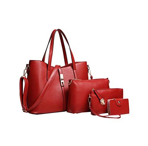 Antifurto Ragazze pezzi A Moderni Donna Tendenza Originali Rosso tre all'usura Elegante Mnory Tote Classico Borse Pochette Resistente Casual Eleganti Borsetta 07zqccwaxC