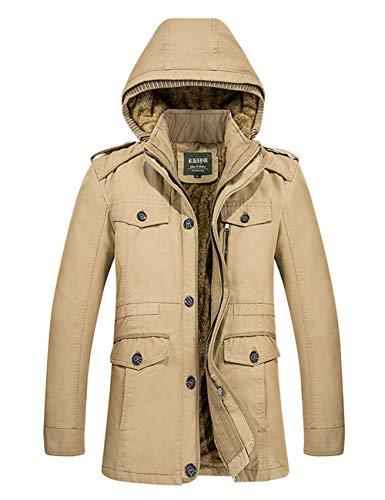 Men's Windbreaker Jackets Body BESBOMIG Jacket Coat Winter Windproof Hooded Warmers Khaki Cotton Sleeve Long dqqwtCp