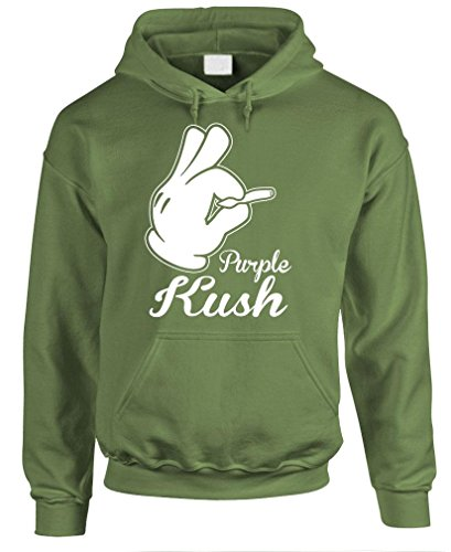 PURPLE KUSH - weed marijuana 420 pot smoke Pullover Hoodie, 2XL, Army