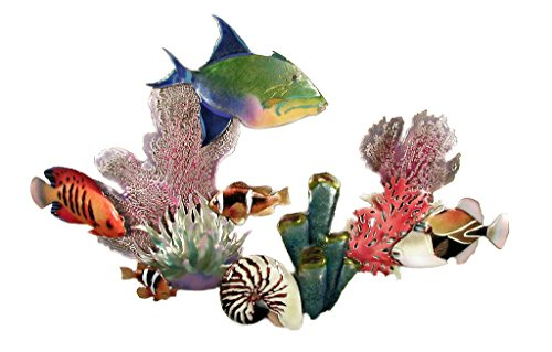 "Bovano Queen Triggerfish, Flame Angel, Trigger, Anemoe, Enamel Glass Copper Metal Wall Art, Large Metal Wall Art in Modern Tropical Design, 3D Wall Art for Modern and Contemporary DŽcor, 28"" x 18Ó made in New England"