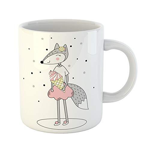 Emvency Coffee Tea Mug Gift 11 Ounces Funny Ceramic Gray Animal Funny Fox Ice Cream on Pink Beast Blush Gifts For Family Friends Coworkers Boss Mug