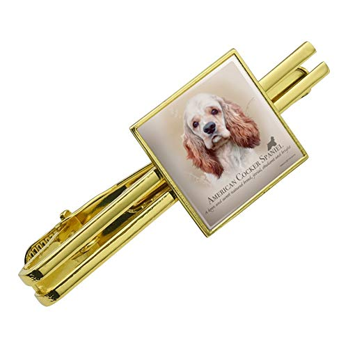 Graphics and More American Cocker Spaniel Dog Breed Square Tie Bar Clip Clasp Tack Gold Color