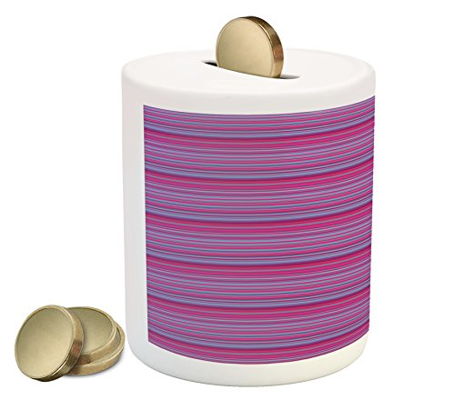 Lunarable Geometric Coin Box Bank, Vibrant Horizontal Stripes Design in Barcode Pattern Colorful Modern Abstract Art, Printed Ceramic Coin Bank Money Box for Cash Saving, Multicolor