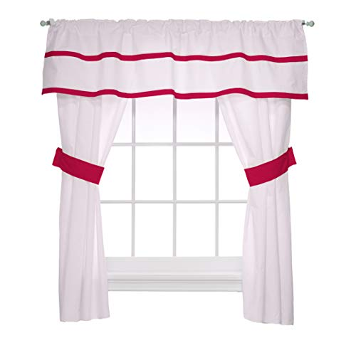 Baby Doll Medallion 5 Piece Window Valance and Curtain Set, Hot Pink