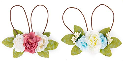 LaRibbons Baby Girls Flower Crown - 2 Pack Spring Bunny Headband Woodland Floral Headband - Pink and ()