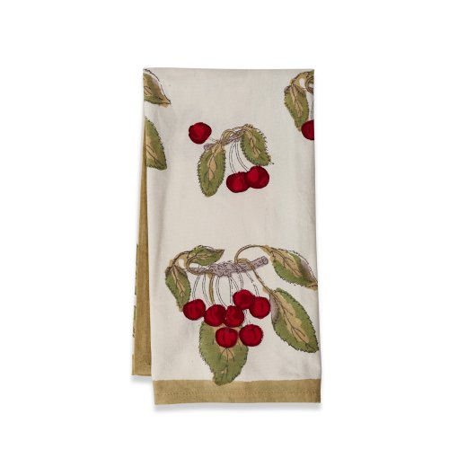 Couleur Nature Cherry Red/Green TeaTowels 20c30, Set of 3