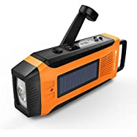RunningSnail AM/FM NOAA Weather Emergency Solar Digital Crank Radio with 3W LED Flashlight, SOS Alarm & 2000MAh Power Bank(Orange)