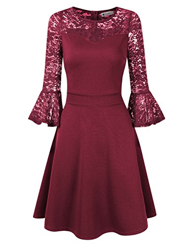 VeryAnn Women Bell Sleeve Fit Flare A-Line Party Dress With Swing Hem Wine Red Small
