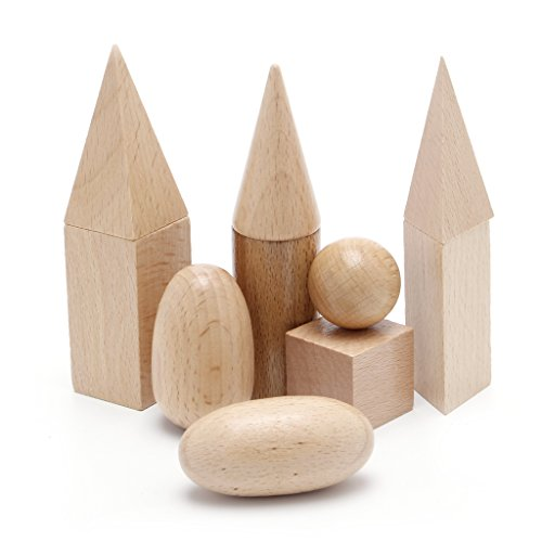 UJuly Wooden Geometric Solids 3D Shapes Montessori 5cm to 8cm Christmas Baby Gift Learning Resources for School Home (Set of 10)