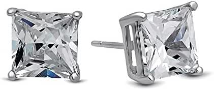 LUVAMI 18k White Gold Cubic Zirconia Square Stud Earrings