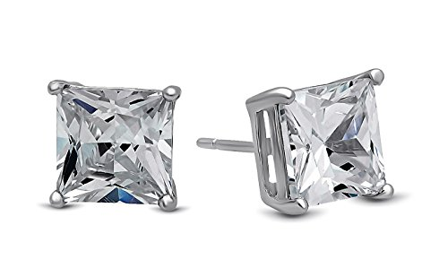 [LUVAMI 18k White Gold Cubic Zirconia Square Stud Earrings] (Cute Unique Costumes)