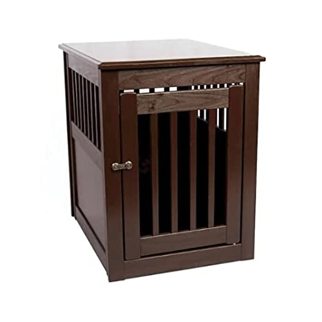 End Table Pet Crate Large Mahogany
