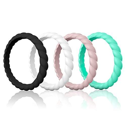 Egnaro Silicone Wedding Rings for Women, Thin and Stackble Rubber Wedding Bands,Size 4-9,Comfortable fit,No-Toxic,Skin Safe (Lightweight Band Plain Wedding)