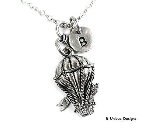 Balloon Fly Necklace Fair Amusement Park Carnival Ride Charm Pendant Personalized Initial Jewelry Add Birthstone Crystal or Your Name