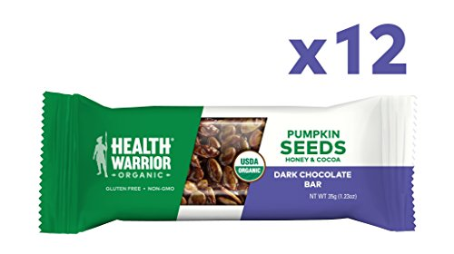 Health Nut - Health Warrior Pumpkin Seed Protein Bars, Dark Chocolate, 8g Plant Protein, Gluten Free, Certified Organic, 12 Count