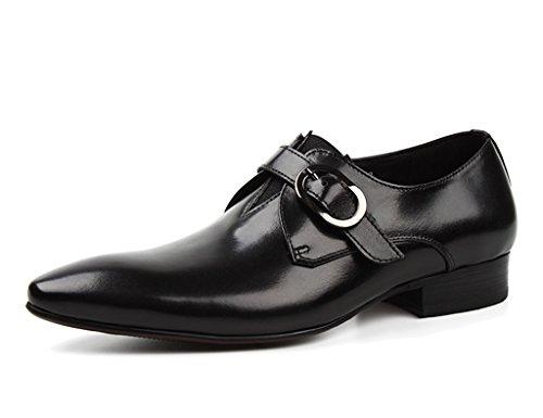 Hombres Zapatos Con De Negocios Cuero Cordones Negro Único Color Transpirables Boda Vino Formal Tamaño Rojo Hombre Ropa Clásicos Británico Para Estilo Piel fOrqwBOY