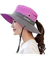 Womens UV Protection Sun Hats Wide Brim Ponytail Hole Sun Hat for Women Foldable Mesh Travel Outdoor Fishing Beach Cap