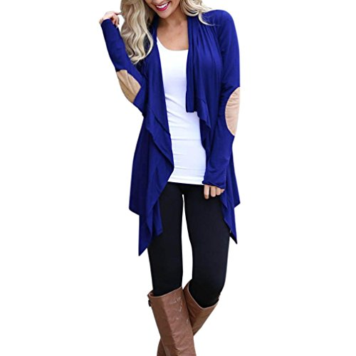 Dayseventh Outwear Giacca Blu Cardigan Manica Maglia Lunga Casuale Womens Cime fcWCdqCy7