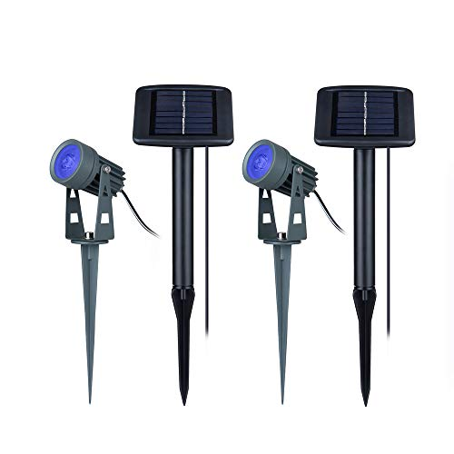 Shinar 2 Sets Solar Spotlights Waterproof Solar Powered Outdoor Landscape Spotlight Garden Backyard Lawn Patio Tree Flag spotlights Torch Blue LED Outdoor Wall and Pathway (Blue) ...