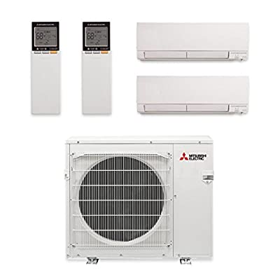 Mitsubishi MXZ-2C20NAHZ-2WF-03 - 20,000 BTU Dual-Zone Hyper Heat Wall Mount Mini Split Air Conditioner 208-230V (12-12)