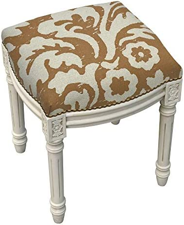 123 Creations Jacobean Foam Linen Wood Floral Antique White Finish Nail Head-Accented Vanity Stool
