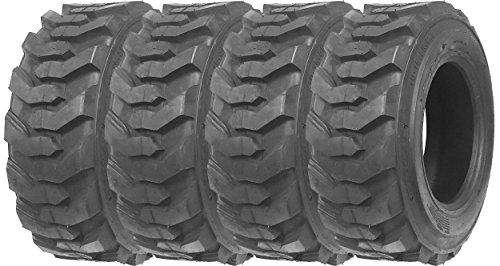 Set of 4 New ZEEMAX Heavy Duty 10-16.5/10PR G2 Skid Steer Tires for Bobcat w/ Rim Guard