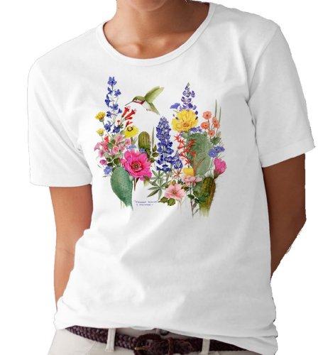 (Desert Flowers and Hummingbirds T-Shirt/tee by Valerie Pfeiffer - X-Large White)