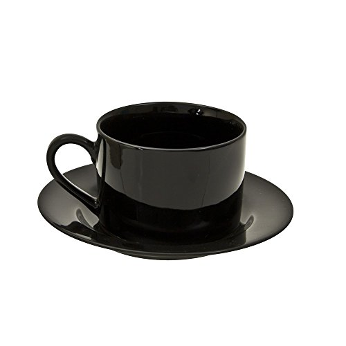 10 Strawberry Street Black Rim Cup and Saucer in Black (Set of 6) BRB00096