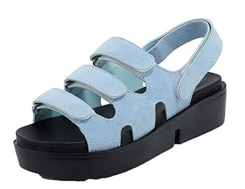 Punta Agoolar Donna Plastica Sandali Velcro Tacco Celeste Aperta Puro Medio 55f1T