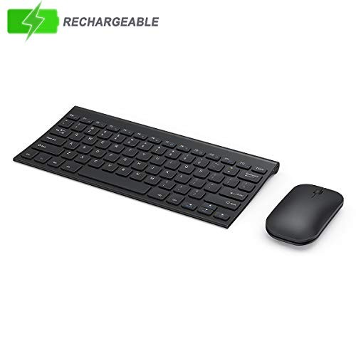 Wireless Keyboard and Mouse Combo, Seenda Low Profile Small Rechargeable Keyboard and Mouse Set with Aluminum Base for Windows, Black (Logistics Keyboard Ipad)