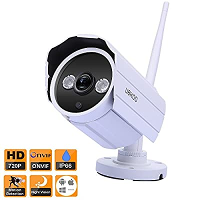 UOKOO Wireless IP Security Bullet Camera, 720P HD Waterproof Surveillance Network Camera with Night Vision and Motion Detection Email Alert Remote View for Phone/Pad/PC from UOKOO