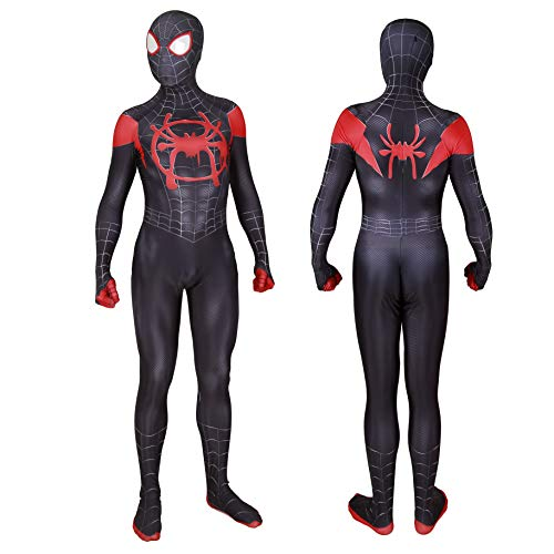 MYanimec Unisex Lycra Spandex Halloween New into The Spider Verse Miles Morales Cosplay Costumes Adult/Kids 3D Style (Adult-XL) Black]()