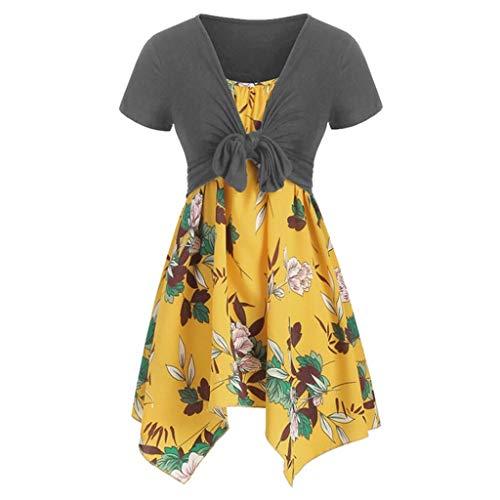 Women's Plus Size Dress,Yezijin Women's Summer Fresh Flower Print Dress Sling Set Cardigan Two-Piece Set