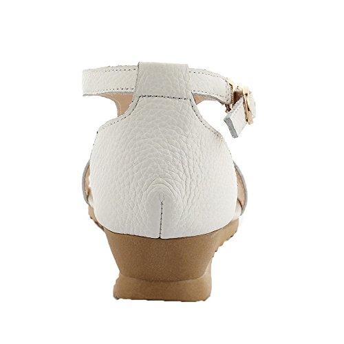 GMBLA013115 Boucle Talon Blanc à Bas Sandales Ouverture Femme AgooLar Cuir d'orteil PU 1tvqqSw